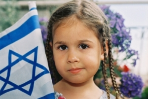 Young girl with Israeli flag